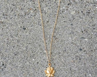 Gold Lotus Necklace, Lotus Flower, Gold Necklace, Flower Necklace, Vermeil