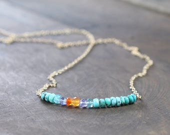 Orange Carnelian, Tanzanite & Turquoise Necklace in Sterling Silver or Rose Gold Filled, Delicate Beaded Multicolor Gemstone Row Necklace