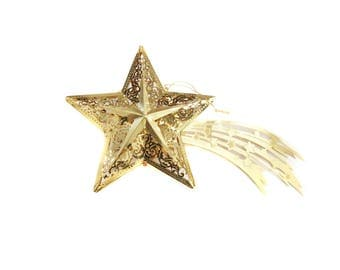 Shooting Star Ornament, Large Gold Metal Ornament, Starburst, Christmas Star Tree Ornament, Gold Shooting Star Ornament