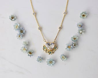 Flower bouquet necklace, heart cz necklace, rose gold necklace, gold necklace, pendant necklace, mothers day gift, gift for mom, nana gift