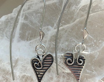 Artisan Sterling Silver Heart Threader Style Earrings - Long Threader Heart Charm Earrings