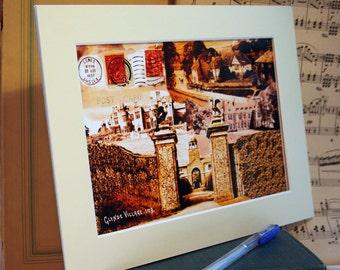 Glynde Village, British Countryside, Glyndebourne, Traditional, Vintage, Village, Old Postmarks, Stamps, Postcards, Digital Collage Print