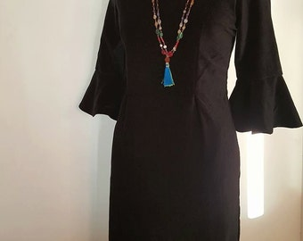 SALE-Rich Black Velvet Dress with 3/4 Sleeve mid Length and square neck line