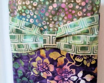 Cross Body - Hipster -Bag -  Purse  Handmade - Washable - Quilted  Hand Painted Batik Fabric - Great colors for Spring & Summer Purple Green