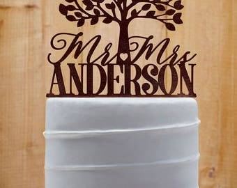 Customized Wedding Cake Topper, Personalized Cake Topper for Wedding, Custom Personalized Wedding Cake Topper, Last Name Cake Topper 06