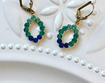 Vintage Swarovski Almond Leaf Blue Ombré Earrings Shades of Blue Crystal Leaf Drops Ocean Caribbean Colors Blue Lagoon Earring