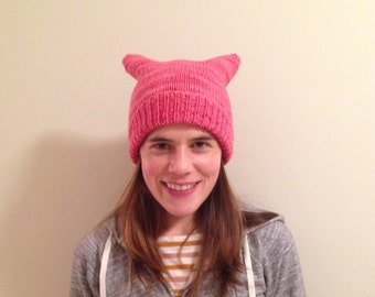READY TO SHIP Pink pussy hat 100% merino wool soft and warm