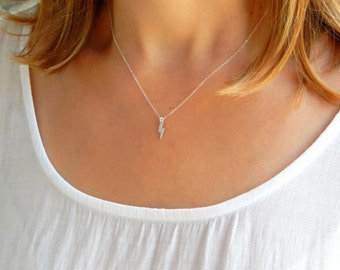 Dainty Silver lightning necklace, lightning bolt silver necklace, lightning charm, silver lightning charm, everyday necklace 041