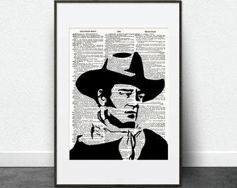 John Wayne - Portrait, Wall Art, Print, Modern, Art, Gift - Vintage Dictionary Art Print