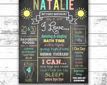 You Are My Sunshine Birthday, First Birthday Chalkboard, Sun, Any Age, Mint Teal, Coral, Yellow, Gold Glitter, Printable, Digital File