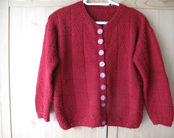 SALE Hand Knitted Oxblood Red 1950s Style Cardigan Sweater