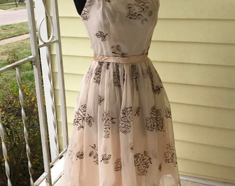 1950s Pink Party Dress Satin Chiffon Full Skirt/Fitted Bodice/Flocked Floral Design/Small 4-6/Movie Star/Prom/Bridesmaid