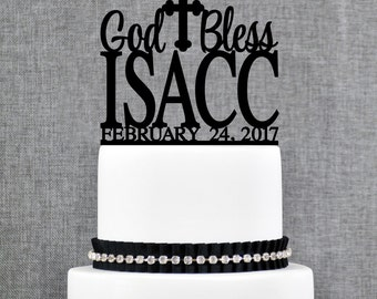 God Bless First Name Cake Topper, Personalized Birthday Topper, Custom Christening Cake Topper - (T312)