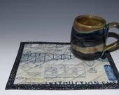 Pottery Mug & Matching Mug Rug | Handmade Mug | Ceramic Mug | Pottered and Pieced