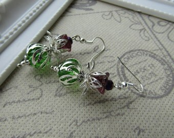 Silver Tone Thistle Earrings Vintage Style  - Scotland - Outlander