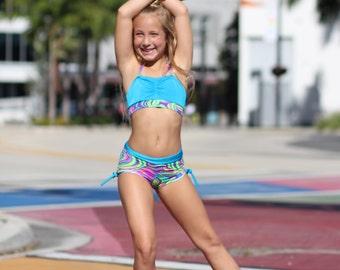 Neon Dancewear.  Dance Set.  Halter top. Dance. Cheer. Gymnastics
