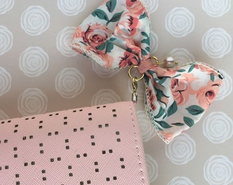 Pink Peach Floral Bow Planner Charm