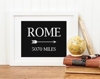 Rome Printable Mileage Sign Travel Decor Adventure Wall Art Travel Mileage Print Rome Italy Wall Art Travel Poster Black and White Nursery