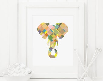 Elephant Printable Elephant Wall Art Elephant Head Safari Nursery Decor Jungle Nursery Wall Art Jungle Animal Prints Colorful Boy Nursery