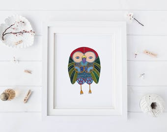 Green Feather Owl, Watercolor Art Print
