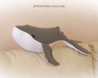 Humpback Whale Pillow, Stuffed Animal, Whale Plush Toy, Whale Plushie, Large Whale