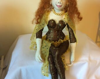 Hand made cloth art doll,what the elf cloth doll,collectable cloth doll,gift for her,cloth doll making,doll with long ginger hair,elf doll,