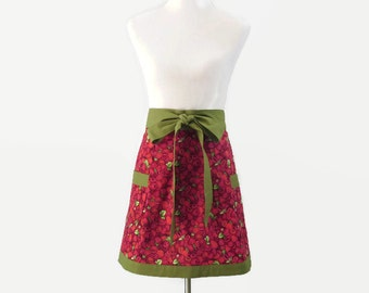 Womens Plus Rasperries Apron,  Large Raspberries Half Apron, Plus Fruit Apron, Raspberries Kitchen Decor, Plus Raspberries Bridal Shower