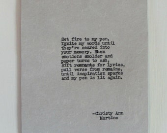 Writer Gift - Gifts for Authors - The Blaze Writing Inspiration Poem - Set Fire To My Pen Original Poetry Typed by Poet