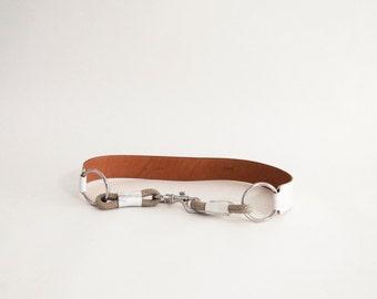 Miu Miu Off-White Leather Belt with Rope Details Vintage Italian Designer Belt 32
