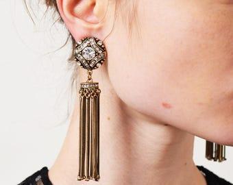 1960S Rhinestone Tassel Drop Earrings 60S Vintage Long Dangle Earrings