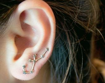Aquarius Constellation Earrings, Ear Cuffs Aquarius Constellation, Constellation Earrings, Aquarius Earrings, Aquarius Sign Zodiac Jewelry