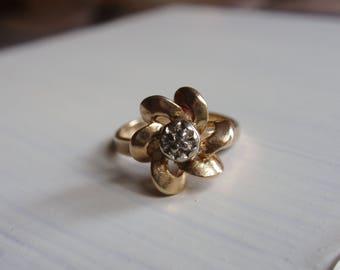 Diamond Flower Ring 10k Ladies yellow gold dainty pinky