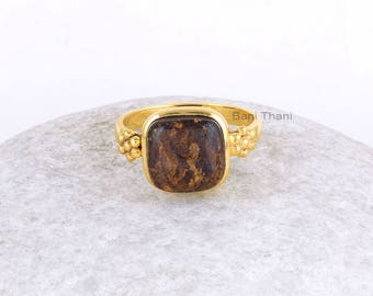 Silver Gemstone Ring-Bronzite Cushion 10x10mm Sterling Silver Ring with 18k Gold Plating-Gemstone Ring-Designer Ring-Mother's Day Gift