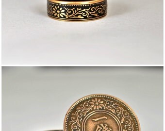 Japanese Coin Ring, Black Ring, Japanese Ring, Coin Ring, Bronze Ring, Japanese Coin, Japanese Jewelry, Coin Rings, Japanese Art, Coin Art