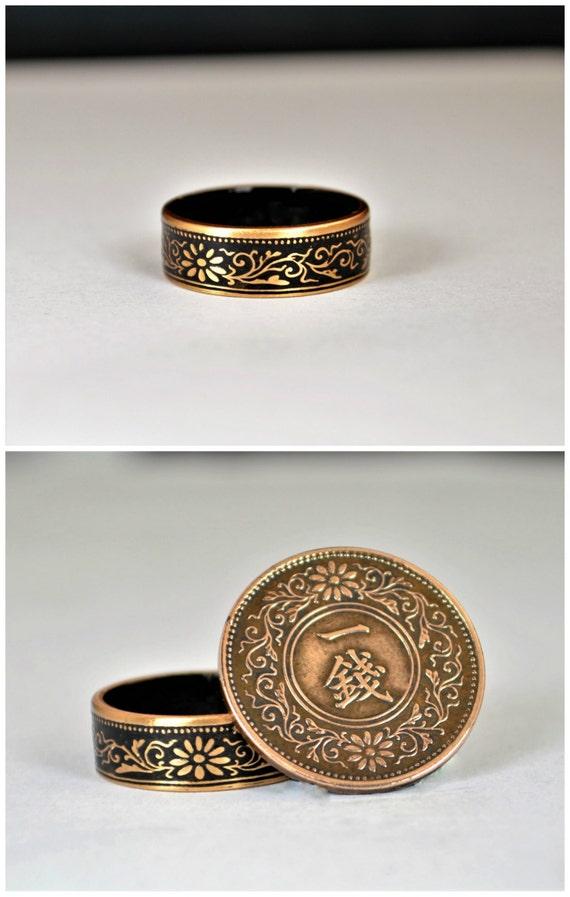 japanese coin ring black ring japanese ring coin ring