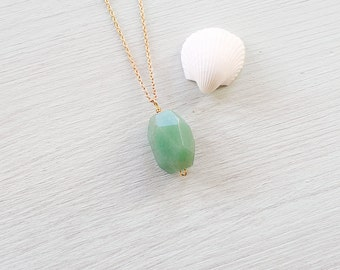 Large Green aventurine nugget necklace - Polished faceted aventurine necklace - Chunky genuine natural aventurine necklace - Green crystal