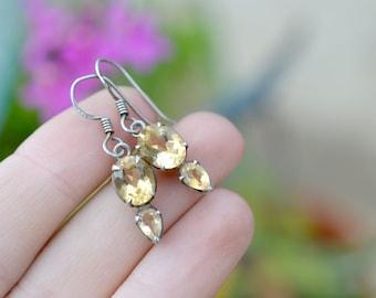 Sterling Silver Golden Yellow Gemstone Dangle Earrings