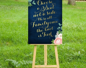 The JENNY . Pick a Seat Not a Side Wedding Sign . Peony Ranunculus Rose Garland Gold Calligraphy & Navy Chalkboard . PRINTED Big Sign or PDF