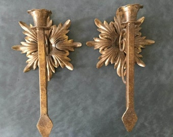 ANTIQUE or Vintage Candle Sconces - Gilded Wrought Iron Torch-Style Candelabra - Entryway Porch Dining Room Fireplace