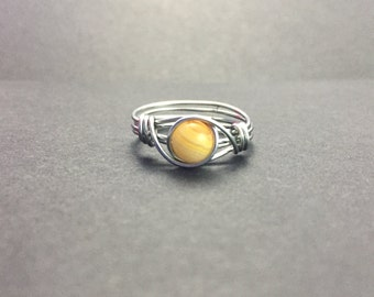 Lace Agate Wire Wrapped Ring