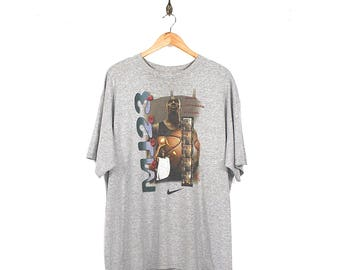 Vintage Nike Air Jordan T-shirt - 90s Nike Michael Jordan MVP Heather Grey T-shirt - 90s Nike Air Jordan T-shirt Made USA