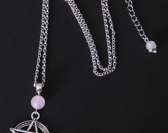 Pagan Wicca Rose Quartz Pentagram Necklace - Sanguine Rose Designs