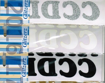 Iron On Letters 40 piece x 35mm Alphabet White Gold Silver Black or Red