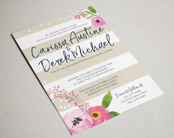 Watercolor and Confetti Wedding Invitation + Thank You Card