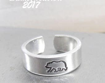 Animal Ring Bear Jewelry, Sterling Silver Bear Rings, Grizzly Bear Ring, Custom Hand Stamped Ring