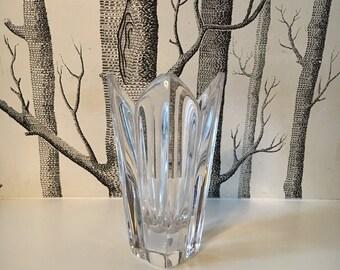 Vintage Orrefors Glass Crystal Lotus Vase Sweden Clear