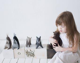 Set Of 4 Felt Toys, Stuffed Animals Bear Owl Rabbit Bunny Fox, Woodland Animals, Embroidered Toys, Handmade Toys, Soft Animal Sculptures