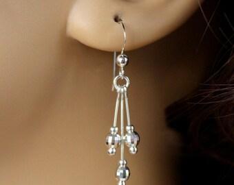 Sterling Silver Bead Earrings, Sterling Silver Earrings, Silver Dangle Earrings, Disco Ball Earrings, Silver Ball Earrings, Birthday Gift