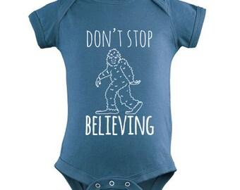 Don't Stop Believing Sasquatch Baby Onesie, Sweet Screen Printed Onesie, Indigo or Pink,  100% Cotton.