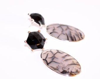 Onyx earrings, XXL earrings, Silver earrings with Onyx, MOSS agate